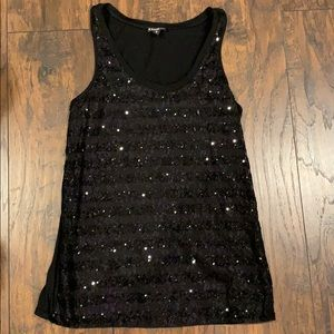 Black Sequin Tank Top by Express